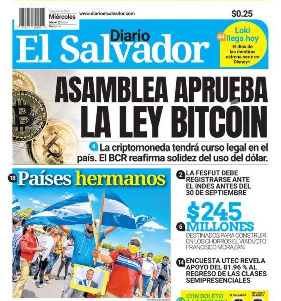El Salvador aprova Bitcoin
